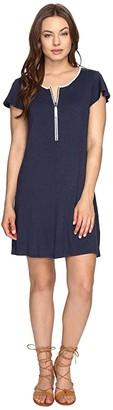 Kensie Drapey French Terry Dress KS0K960S (Heather Navy Combo) Women's Dress
