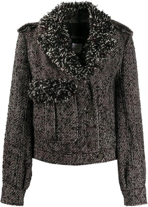 Chanel Pre Owned Frayed Trim Cropped Jacket