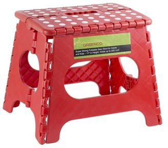"""Greenco Super Strong Foldable Step Stool for Adults and Kids, 11"""", Red"""