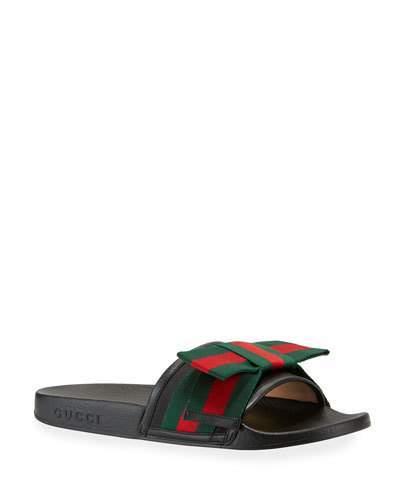 Gucci Flat Pursuit Web Slide Sandal