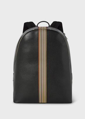 Paul Smith Men's Black Leather Signature Stripe Backpack
