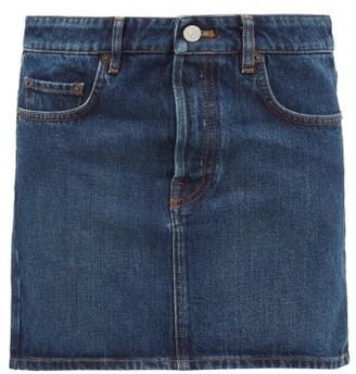 Balenciaga Logo-patch Denim Mini Skirt - Indigo