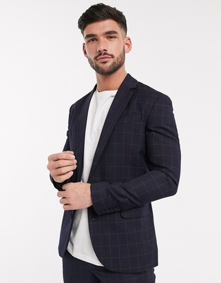 New Look tonal grid check suit jacket in navy
