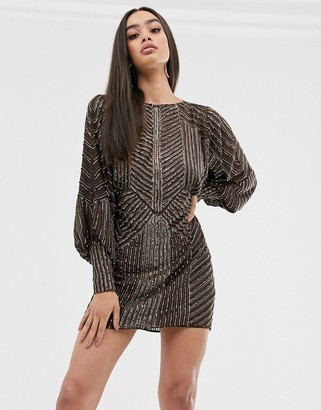 ASOS DESIGN mini dress with blouson sleeve in linear embellishment