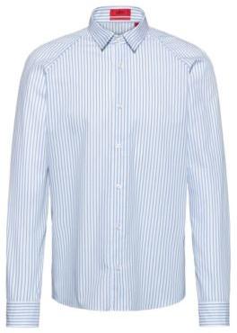 HUGO BOSS Slim Fit Shirt In Striped Cotton Canvas - Light Blue