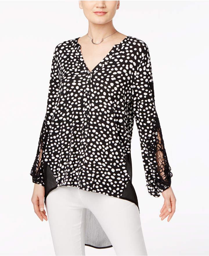 August Silk Crochet-Sleeve High-Low Blouse