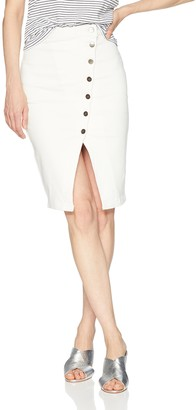 EVIDNT Women's Asymmetrical Button Split Hem Denim Pencil Skirt