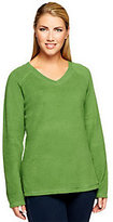 As Is Denim & Co. Baby Sherpa V-Neck Long Sleeve Top