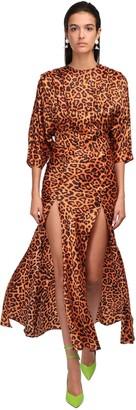 The Attico Leopard Print Dress W/ Slits
