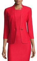 St. John Lattice Pique Knit 3/4-Sleeve Jacket, Hibiscus