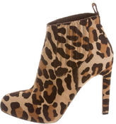 Brian Atwood Leopard Ponyhair Ankle Boots
