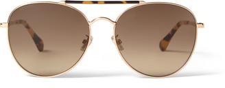 Jimmy Choo ABBIE Yellow Brown Havana and Copper Gold Aviator Sunglasses