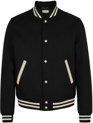 Saint Laurent Black logo-appliqued wool-blend bomber jacket