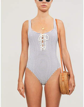 Solid & Striped Sophia tied-front striped swimsuit