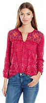 Lucky Brand Women's Embroidered Slit Neck Top