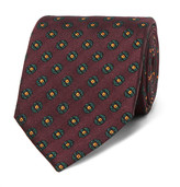 Dunhill 8cm Medallion-patterned Mulberry Silk-jacquard Tie - Burgundy