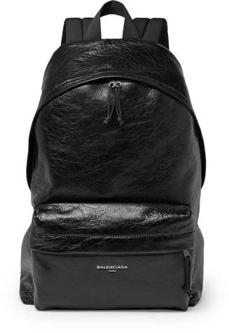 Balenciaga Arena Creased-Leather Backpack - Black