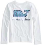 Vineyard Vines Girls' Long-Sleeve Sketched-Whale-Logo Tee