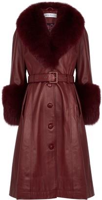 Saks Potts Foxy Burgundy Fur-trimmed Leather Coat