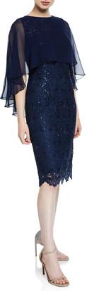 Rickie Freeman For Teri Jon Sequin Draped-Sleeve Lace Sheath Dress with Chiffon Capelet