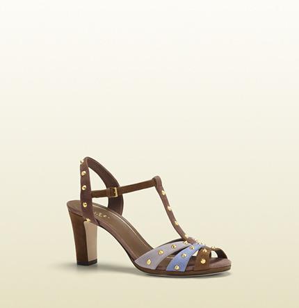 Gucci Jacquelyne Multicolor Suede Mid-Heel Studded Sandal
