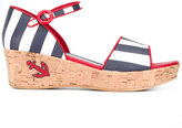 Dolce & Gabbana striped wedged sandals - kids - Cork/Leather/Nappa Leather/rubber - 37