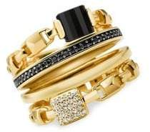Michael Kors Frozen Link 14K Goldplated Multi-Stone Stackable Ring