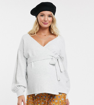 ASOS DESIGN Maternity volume sleeve wrap sweater