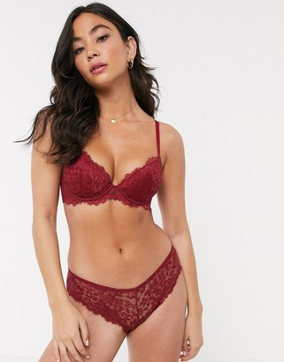 New Look scallop eyelash lace brazilian brief in berry