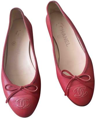 Chanel Red Leather Ballet flats