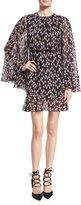 Giambattista Valli Rosebud-Print Silk Cape Dress, Black/Pink