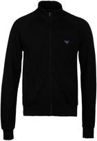 Emporio Armani Black Funnel Neck Zip Through Sweatshirt