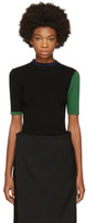 Enfold Black Ribbed Colorblocked Sweater