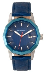 Morphic M56 Series, Silver Case, Blue Leather Band Watch w/Date, 42mm