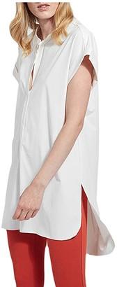 Lysse Viola Short Sleeve Tunic in Stretch Microfiber (White) Women's Clothing