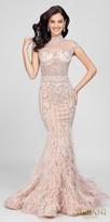 Terani Couture Sheer High Collar Beaded Feather Mermaid Evening Dress