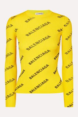Balenciaga Printed Ribbed-knit Top - Yellow