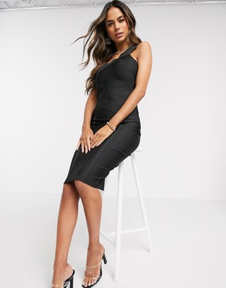 Love & Other Things lace insert bandage midi dress in black