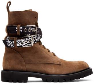 Amiri Brown Suede Bandana Combat Boots