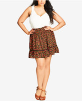 City Chic Trendy Plus Size Printed A-Line Skirt