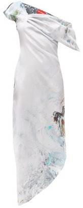 Art School X Maggi Hambling Dagger Printed Silk Dress - Blue Multi