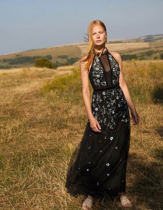 Monsoon Antonia Floral Embellished Maxi Dress in Recycled Fabric Black