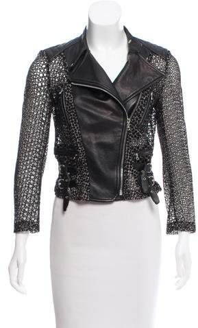 Yigal Azrouel Leather-Trimmed Broderie Anglaise Jacket