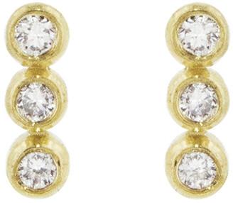 Jennifer Meyer Mini Diamond Trio Bezel Yellow Gold Stud Earrings