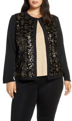 Ming Wang Sequin Front Knit Jacket