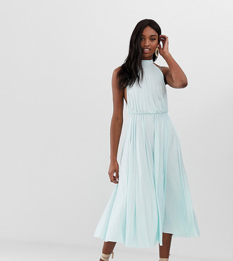 Asos DESIGN Tall Halter Pleated Waisted Midi Dress