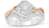 Zales 1/2 CT. T.W. Diamond Frame Bypass Bridal Set in 10K Two-Tone Gold