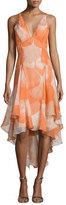 Halston Sleeveless V-Neck High-Low Dress, Terracotta