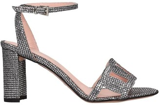 ANNA F. Sandals In Silver Leather