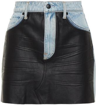 Alexander Wang Bite Distressed Denim And Pebbled-leather Mini Skirt